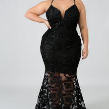 Woman Dress Elegant Maxi Formal Dress Women Elegant Prom Vestidos Sexy  Black Lace Dinner Dresses Large Size Party Night Sukienki 2d5390cbee98