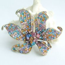 3.74 Inch Gold-tone Multicolor Rhinestone Crystal Orchid Flower Brooch Pendant EE03903C9