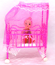 NK 2 Items/Set  Doll Accessories Baby Bed Super Cute Bed +One Small Kelly Doll For Barbie Dolls Girls Gift Favorite Design Toys