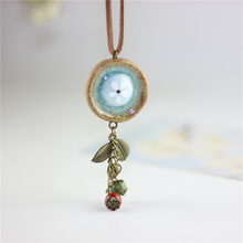 Miredo jewelry wholesale simple ceramic necklaces women's coin wood collar stone boho  necklace pendant free shipping 00155
