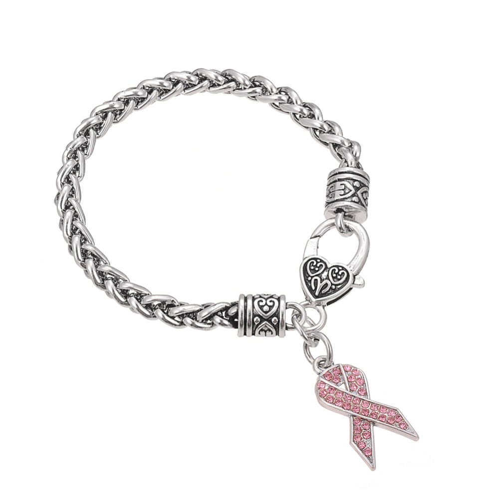 Skyrim Exquisite Rhinestone Bracelets Enameled Color Breast Cancer Ribbon Awareness Crystal Charm Wheat Chain Bracelet(China)