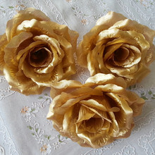 10PCS 10cm Gold Sliver Artificial Rose Silk Flower Heads for Wedding Party Decorative Flowers Home New year decoration