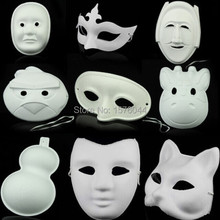 5PCS/LOT Masquerade mask over the face painted children DIY pulp pulp blank mask for men and women P0025(China)