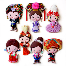 Fridge Magnet Sticker Microwave Refrigerator Window Wall Magnetic Decorative Chinese Minorities Cartoon Big 24 Patterns(China)