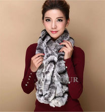 Fashion Womens Real Knitted Rex Rabbit Fur Scarves Natural Fur Neckerchief Winter Thick Fur Long Wraps Length 118cm LX00520