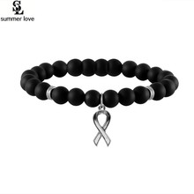 Women strand bracelet ribbon breast cancer awareness bracelet charm never never give up/live your dream inspirational jewelry