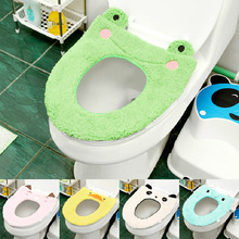 Toilet Seat Cover Mat Bathroom Warmer Toilet Washable Cloth Warmer Pad Cartoon Plush Toilet   Case Mat Thickening Potty Set
