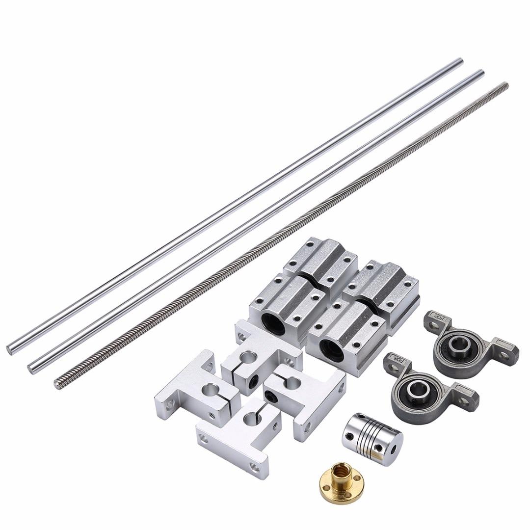 500*8mm T8 Linear Guide Rails Guide Shaft Screw Lead Nut Bearing Blocks Set Mounted Ball Bearings Shaft Coupling Mayitr<br>