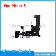10pcs/lot NEW Black / White Charger Charging port Dock USB Connector Data Flex Cable For iPhone 5 5g Headphone Jack Flex Ribbon