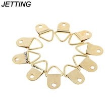 10Pcs Wholesale Universal Strong Golden D Rings Decor Picture Frames Hanger Hooks Hanging Triangle Screws Helper(China)