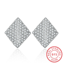 Jemmin Luxury 925 Sterling Silver Earrings Square Shape Full Clear Diamond Wedding Stud Earring For Women Brincos Bijoux(China)