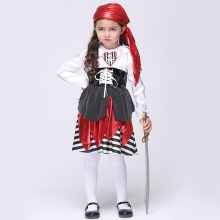 High Quality Children's Halloween Costumes Girls Pirate Costume Kids Pirate Cosplay Animation Game Uniforms Free shipping(China)