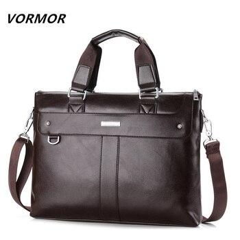 Vormor 2017 hombres maletín de negocios informal bolso de hombro bolsas de mensajero de cuero del ordenador portátil bolsa bolso de los hombres bolsas de viaje