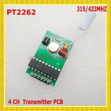 PT2262 IC Chip Remote Control 4CH Remote Transmitter PCB 315/433 Fixed Code2262 RF Remote TX 50-1000m Long Range Wireless Remote(China)