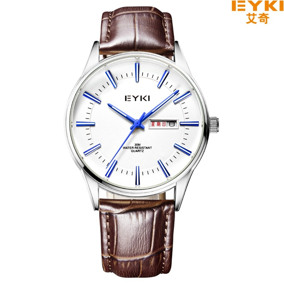 Brand EYKI 30M Waterproof Leather Strap Business Watches Roman Scale With Diamond Fashion Week Calendar Tide Quartz Watch 1031<br><br>Aliexpress