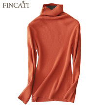 Sweater Women 2017 Autumn Winter High Quality 100% Pure Cashmere Turtleneck Ribbed Knitting Casual Slim Bottom Pullover Tops(China)