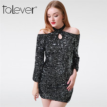 Buy Autumn Women Sexy Halter Long Flare Sleeve Sequins Bodycon Mini Party Dress 2017 Winter Fashion Elegant Female Dresses Talever for $16.96 in AliExpress store