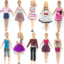 NK Hot Sell One Set=10 Pcs Mix Sorts 2017 Newest Beautiful Handmade Party Clothes Fashion Dress For Barbie Doll Best Gift Toys