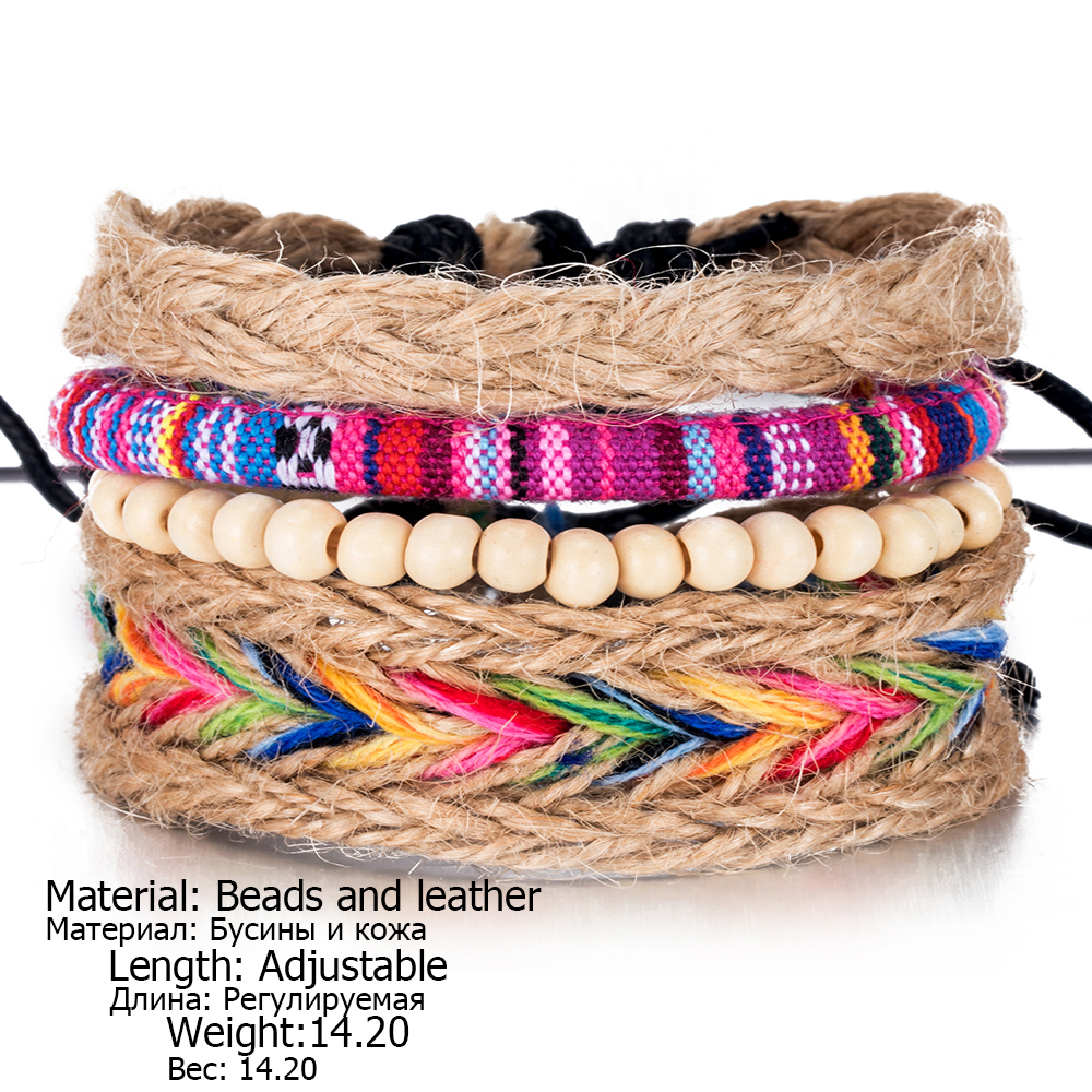 IPARAM 4PCS / Set color ethnic handmade hemp woven bracelet hippie Bohemian embroidery cotton friendship bracelet 6