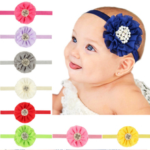 Kids Hair bands Flower Headband Pearl Chiffon Decoration Multi Style Elastic Headwear Newborn Hair Accessories w--016(China)