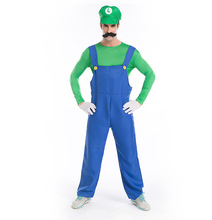 Halloween Costumes Men Super Mario Luigi Brothers Plumber Costume Jumpsuit Fancy Cosplay Super Mario Clothing for Adult Men M-XL(China)