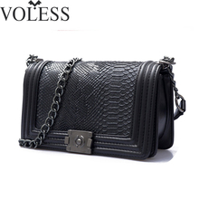 2017 Famous Brand Bag Women Alligator Pu Leather Shoulder Bags Crossbody Chains Block Bag High Quality Women Messenger Bags(China)