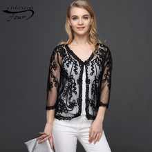 2017 spring summer new fashion lace cardigan large size in the elderly mother loaded thin seven sleeve jacket cloak 801B  30