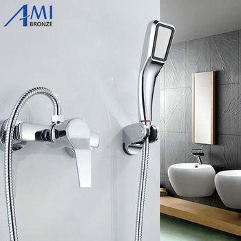 Simple set Bathroom Shower Faucets Bathtub Faucet Mixer Tap With Hand Shower Head Shower Faucet Sets