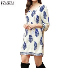 2017 ZANZEA Boho Womens Leaf Print 3/4 Sleeve Ethnic Retro V Neck Tassel Loose Party Short Mini Dress Summer Beach Shift Dress(China)