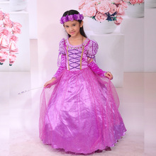 Fashion designer clothes kids princess rapunzel costumes halloween children party frocks for girls with velvet gloves(China)