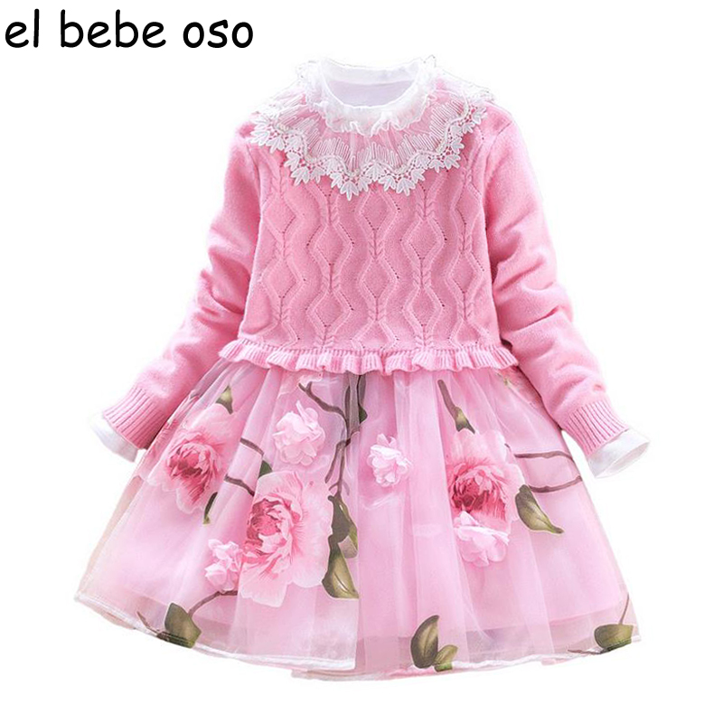 2 Pieces Sets Girl Dress Knitting Sweater+Floral Dress Suit Winter Full Sleeve Lace Party Princess Girls Clothes For 3-11T XL270<br>