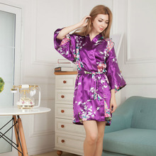 Sexy Women Satin Robe Floral Peacock Print Bathrobe Short Kimono Night Bath Robe Dressing Gown JL(China)