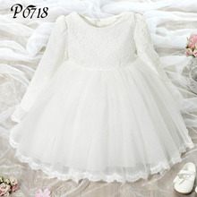 Buy Baby Girls Long Sleeve Dress 1 Year Birthday 2017 Flower Kids Clothes Girls Lace Dresses Autumn Brand Princess Children Clothing for $14.13 in AliExpress store