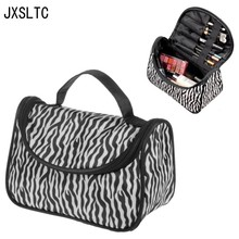 New Practical Portable Waterproof Large Capacity Women Zebra Makeup Bag Storage Organizer Box Beauty Storage Bag Travel Pouch