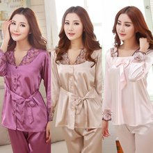 G34 Spring Autumn Women Silk Pajamas Sets Sleepwear Lady Nightdress Female Home Clothes Plus Size 3XL Hot