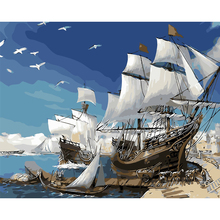 HAOCHU Nordic Seascape Sailboat Gulls DIY Digital Painting By Number Kits Wall Poster Oil Painting Acrylic Draw Home Decor Craft