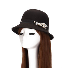 Spring Summer Women's Fedoras Felt Bowler Hats Trendy Artificial Wool Princess Caps with Pearl Flowers Black Red Royal Blue