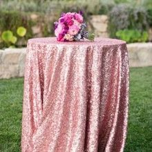 New Year Christmas Pink Gold Sequin Tablecloth Table Cover  Table Wedding Party Decoration-60inch Round