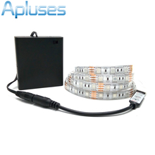 Battery LED Strip SMD 5050 5V IP20/ IP65 Waterproof Tape Lighting DIY Home Decorative Lamp With Battery Box RGB/White/Warm White(China)