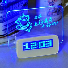 Fashion  DIY Memo Message Board Desk Table Digital Alarm Clock  Free Shipping L014192