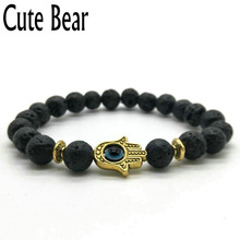 Cute Bear Brand Black Matte Bead Lava Stone Beaded Bracelet Women Fatima Hamsa Hand Bracelet Men Jewelry