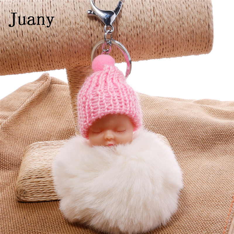 pompom key chain sleeping baby key chain cut rabbit fur ball keychain car key ring women keychian bag charm porte clef14