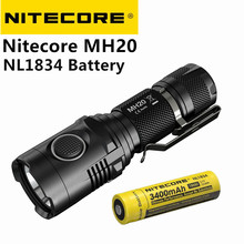 Nitecore MH20 Portable Flashlight with NL1834 Battery XM-L2 1000 Lumens USB Charging Smallest Lightest 18650 Camping Hand Light