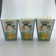 Popcorn cup pokemon go pikachu candy box 6pcs/lot  theme party supplies loading gift bag paper box birthday party 10*8.5*18cm