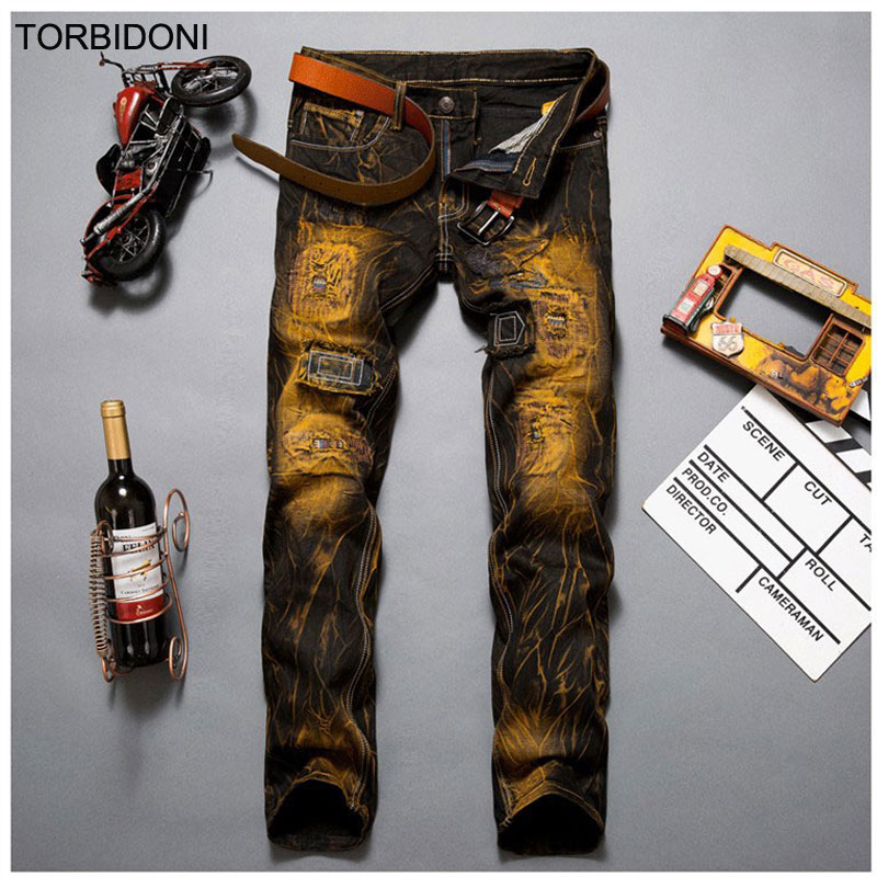 Hot Sale Vintage Yellow Straight Jeans Men Ripped Hole Jeans Trousers Casual Patchwork Jeans Denim Beggar Motorcycle JeansОдежда и ак�е��уары<br><br><br>Aliexpress