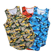 High street OVERSIZE arc hem camouflage cotton vest streets of Europe and the United States wind popular logo vest