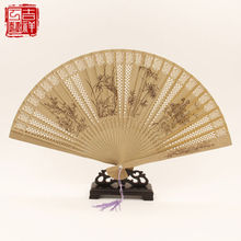 2 pieces Chinese Handmade Classical Sandal Wood Fragrant Hollow Folding Bamboo Fan flower patten