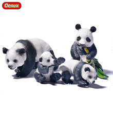 Oenux 4PCS Funny Panda Family Static Action Figures Model Toy Animal Panda Eating Bamboo Posture Model Toys For Kids Gift