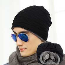Fashion Beanie Men Winter Warm Faux Fur Lined Baggy Hat  Skull Hip-Hop Cap