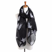 women Kitty print scarf printing girl neckerchief Ladies Cat Print Scarf Warm Wrap Shawl lenco feminino cachecol foulard155x50cm